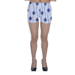 Geometric Flower Seamless Repeating Pattern With Curvy Lines Skinny Shorts by Simbadda