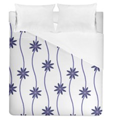 Geometric Flower Seamless Repeating Pattern With Curvy Lines Duvet Cover (queen Size) by Simbadda