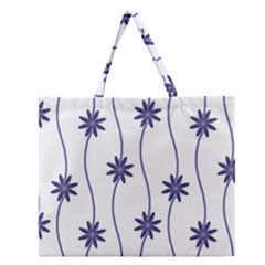 Geometric Flower Seamless Repeating Pattern With Curvy Lines Zipper Large Tote Bag by Simbadda