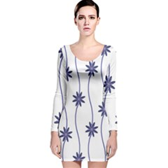 Geometric Flower Seamless Repeating Pattern With Curvy Lines Long Sleeve Velvet Bodycon Dress