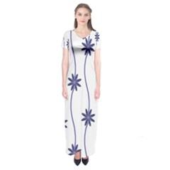 Geometric Flower Seamless Repeating Pattern With Curvy Lines Short Sleeve Maxi Dress by Simbadda