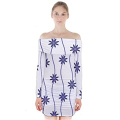 Geometric Flower Seamless Repeating Pattern With Curvy Lines Long Sleeve Off Shoulder Dress by Simbadda
