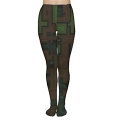 Circuit Board A Completely Seamless Background Design Women s Tights by Simbadda