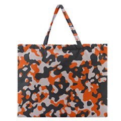 Camouflage Texture Patterns Zipper Large Tote Bag by Simbadda