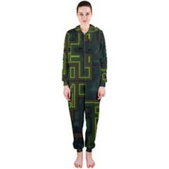 A Completely Seamless Background Design Circuit Board Hooded Jumpsuit (ladies)