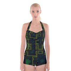 A Completely Seamless Background Design Circuit Board Boyleg Halter Swimsuit