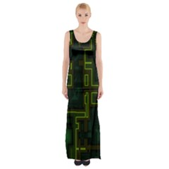 A Completely Seamless Background Design Circuit Board Maxi Thigh Split Dress by Simbadda