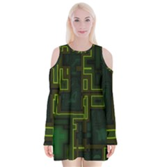 A Completely Seamless Background Design Circuit Board Velvet Long Sleeve Shoulder Cutout Dress by Simbadda