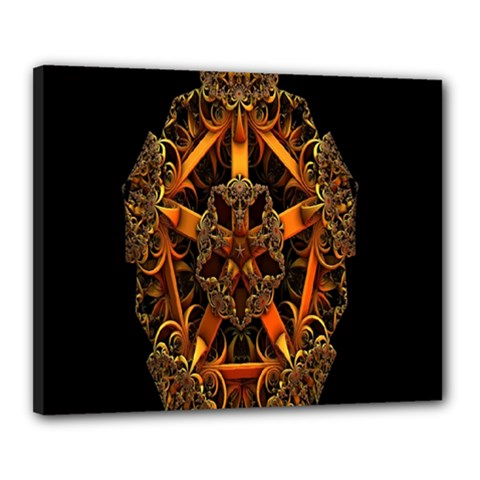 3d Fractal Jewel Gold Images Canvas 20  X 16  by Simbadda