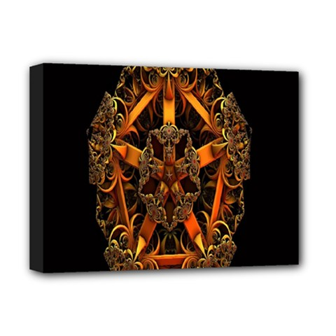 3d Fractal Jewel Gold Images Deluxe Canvas 16  X 12