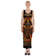 3d Fractal Jewel Gold Images Fitted Maxi Dress by Simbadda