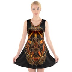 3d Fractal Jewel Gold Images V Neck Sleeveless Skater Dress