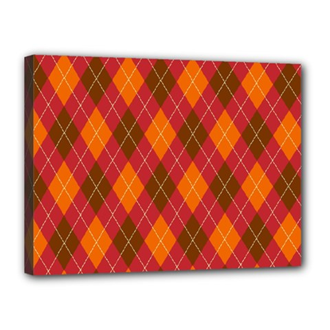 Argyle Pattern Background Wallpaper In Brown Orange And Red Canvas 16  X 12  by Simbadda