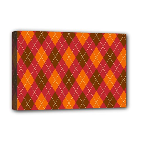 Argyle Pattern Background Wallpaper In Brown Orange And Red Deluxe Canvas 18  X 12   by Simbadda