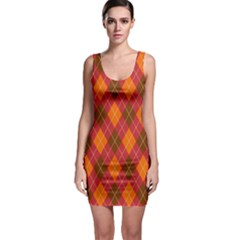 Argyle Pattern Background Wallpaper In Brown Orange And Red Sleeveless Bodycon Dress by Simbadda