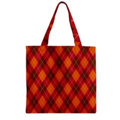 Argyle Pattern Background Wallpaper In Brown Orange And Red Zipper Grocery Tote Bag by Simbadda