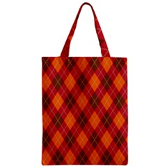 Argyle Pattern Background Wallpaper In Brown Orange And Red Zipper Classic Tote Bag by Simbadda