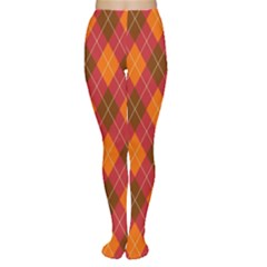 Argyle Pattern Background Wallpaper In Brown Orange And Red Women s Tights by Simbadda