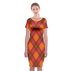 Argyle Pattern Background Wallpaper In Brown Orange And Red Classic Short Sleeve Midi Dress by Simbadda