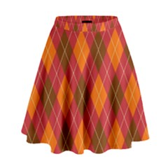 Argyle Pattern Background Wallpaper In Brown Orange And Red High Waist Skirt by Simbadda