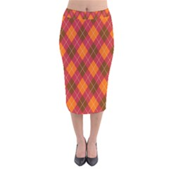Argyle Pattern Background Wallpaper In Brown Orange And Red Velvet Midi Pencil Skirt by Simbadda