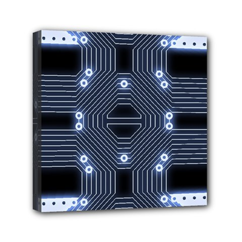 A Completely Seamless Tile Able Techy Circuit Background Mini Canvas 6  X 6  by Simbadda