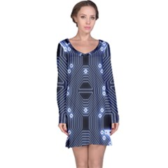 A Completely Seamless Tile Able Techy Circuit Background Long Sleeve Nightdress by Simbadda