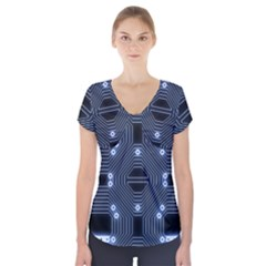 A Completely Seamless Tile Able Techy Circuit Background Short Sleeve Front Detail Top