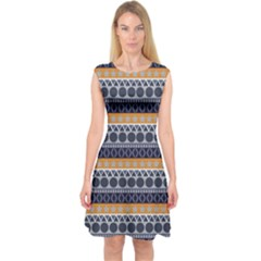 Seamless Abstract Elegant Background Pattern Capsleeve Midi Dress