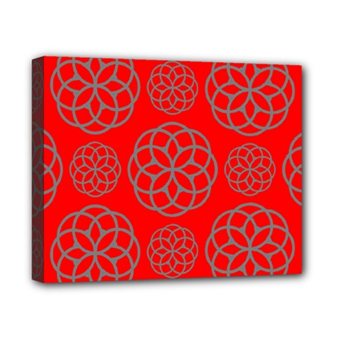 Geometric Circles Seamless Pattern On Red Background Canvas 10  X 8