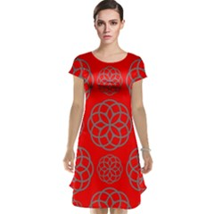 Geometric Circles Seamless Pattern On Red Background Cap Sleeve Nightdress