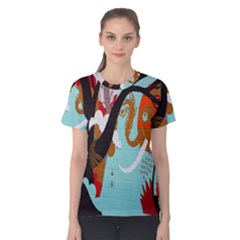 Colorful Graffiti In Amsterdam Women s Cotton Tee by Simbadda