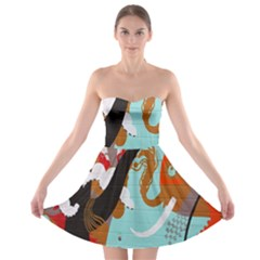 Colorful Graffiti In Amsterdam Strapless Bra Top Dress by Simbadda