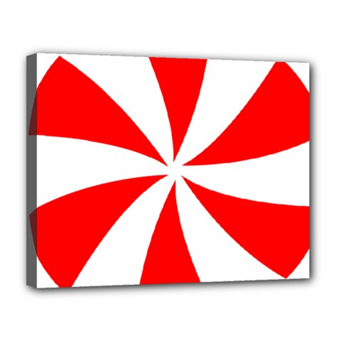 Candy Red White Peppermint Pinwheel Red White Canvas 14  X 11