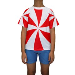 Candy Red White Peppermint Pinwheel Red White Kids  Short Sleeve Swimwear by Alisyart
