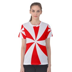 Candy Red White Peppermint Pinwheel Red White Women s Cotton Tee