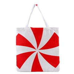 Candy Red White Peppermint Pinwheel Red White Grocery Tote Bag by Alisyart
