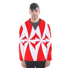 Candy Red White Peppermint Pinwheel Red White Hooded Wind Breaker (men)