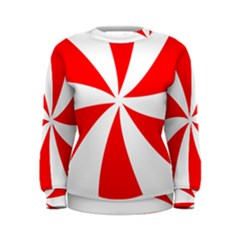 Candy Red White Peppermint Pinwheel Red White Women s Sweatshirt by Alisyart