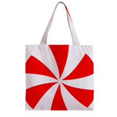 Candy Red White Peppermint Pinwheel Red White Zipper Grocery Tote Bag by Alisyart
