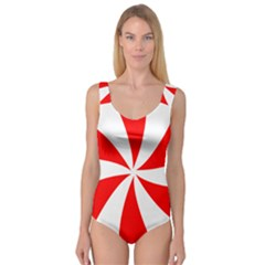 Candy Red White Peppermint Pinwheel Red White Princess Tank Leotard  by Alisyart