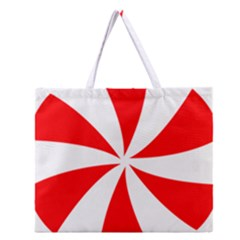 Candy Red White Peppermint Pinwheel Red White Zipper Large Tote Bag