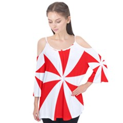 Candy Red White Peppermint Pinwheel Red White Flutter Tees by Alisyart