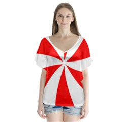 Candy Red White Peppermint Pinwheel Red White Flutter Sleeve Top