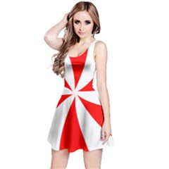 Candy Red White Peppermint Pinwheel Red White Reversible Sleeveless Dress