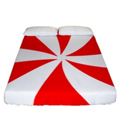 Candy Red White Peppermint Pinwheel Red White Fitted Sheet (queen Size) by Alisyart