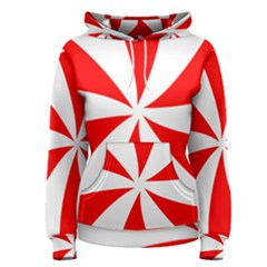 Candy Red White Peppermint Pinwheel Red White Women s Pullover Hoodie