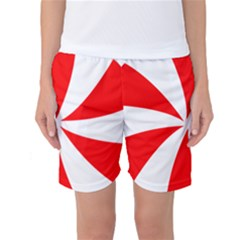 Candy Red White Peppermint Pinwheel Red White Women s Basketball Shorts by Alisyart