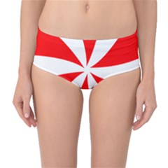 Candy Red White Peppermint Pinwheel Red White Mid Waist Bikini Bottoms by Alisyart