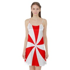 Candy Red White Peppermint Pinwheel Red White Satin Night Slip